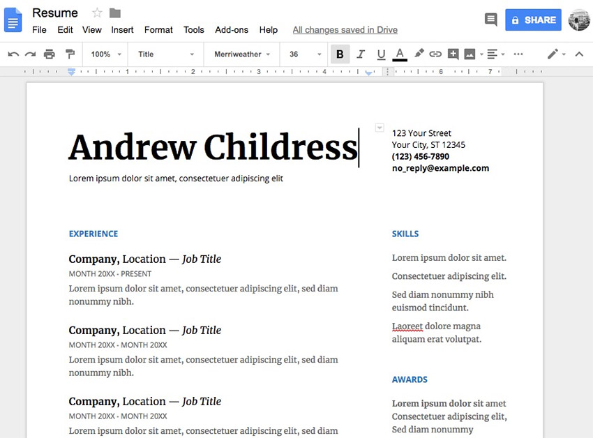 google docs serif template - Free Resume Templates Word