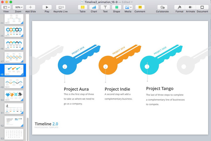 how to quickly make a timeline in keynote with templates