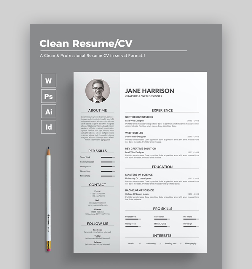 25 Free Creative Resume Cv Templates Word Psd Downloads For 2020