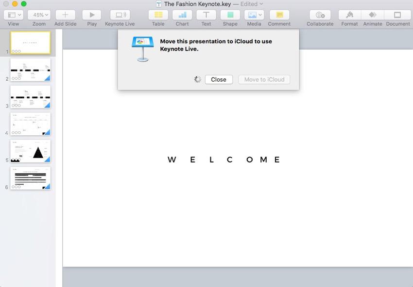 Move to iCloud in Keynote