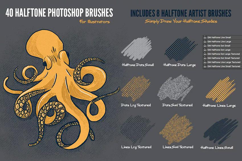 40 Halftone Illustration Brushes