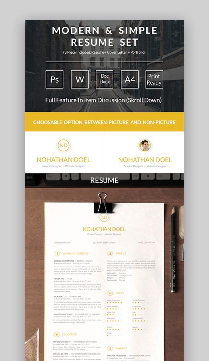 Modern  Simple Resume Set