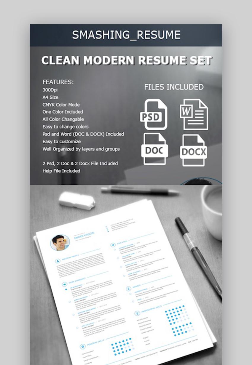clean modern resume set - Best Modern Resume