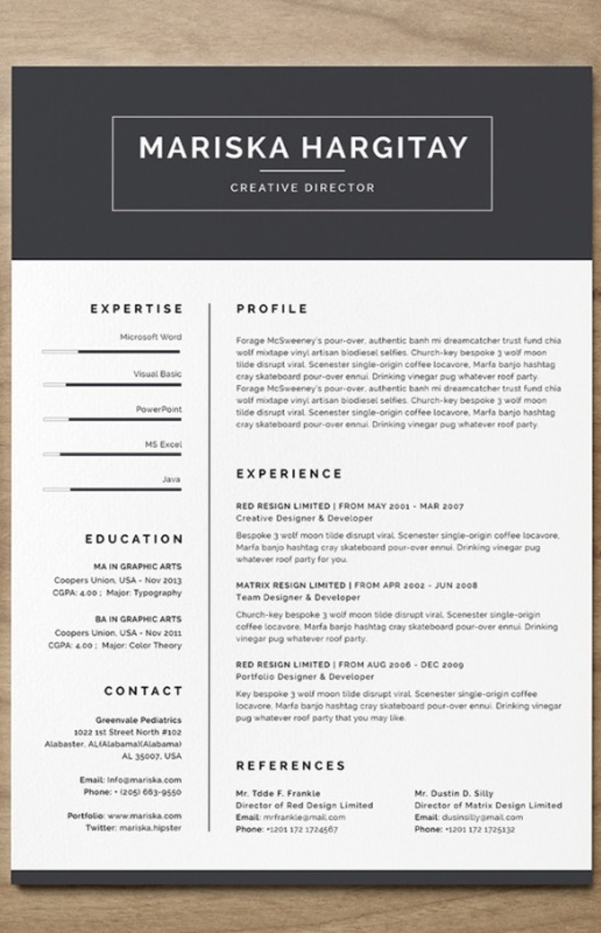 High End CV InDesign Free