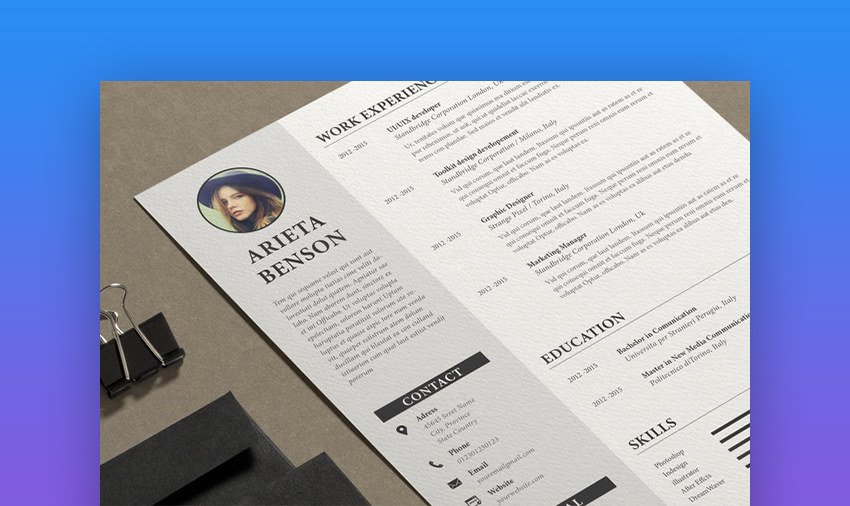 Resume Arieta Template for InDesign