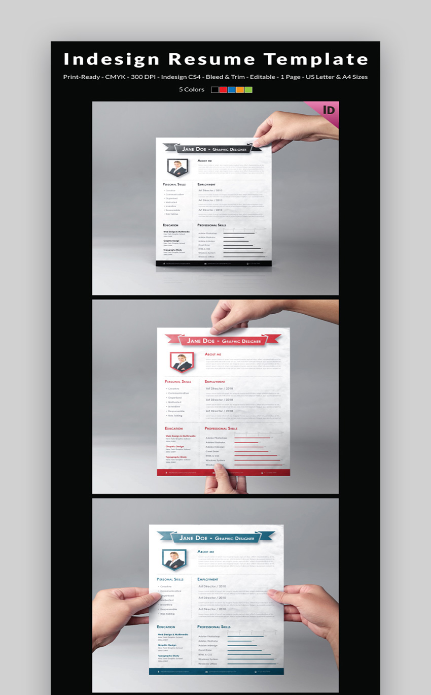 25 best indesign resume templates free pro downloads