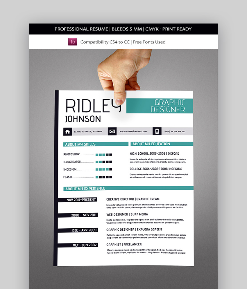 Creative InDesign Resume Templates