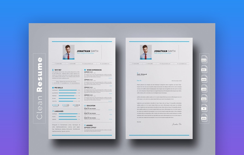 Minimalist And Clean InDesign Resume
