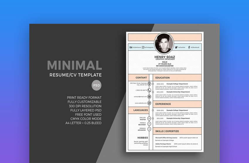 Minimal Resume Template When Creating A Graphic Design
