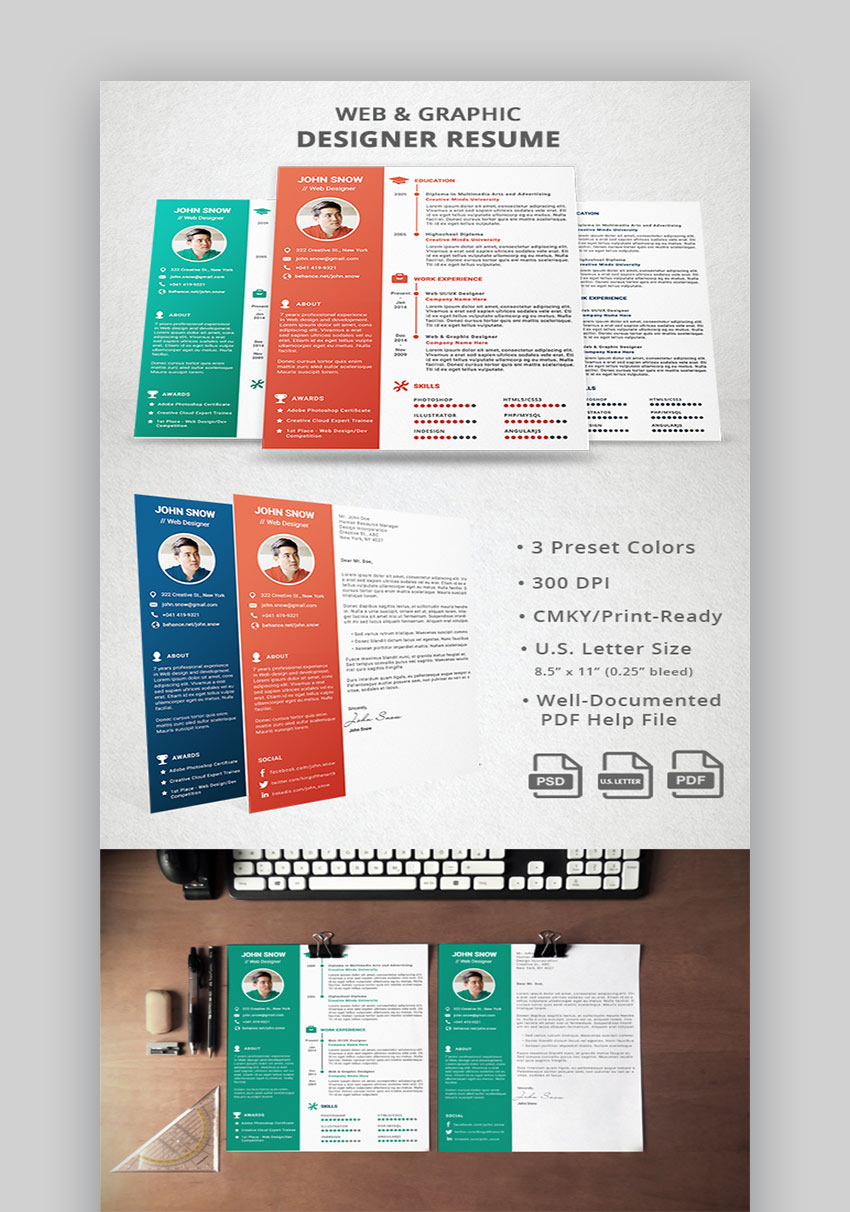 25 best web  u0026 graphic designer resume cv templates for