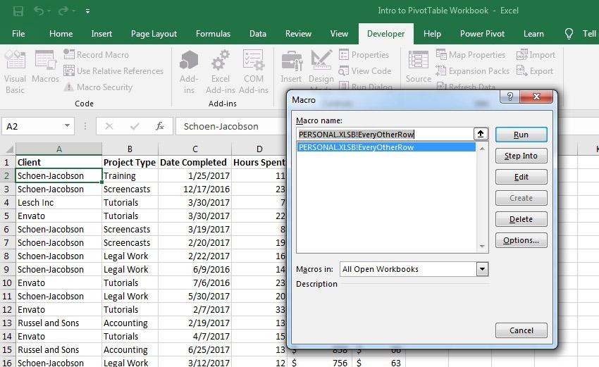Play back Macros Menu in Excel