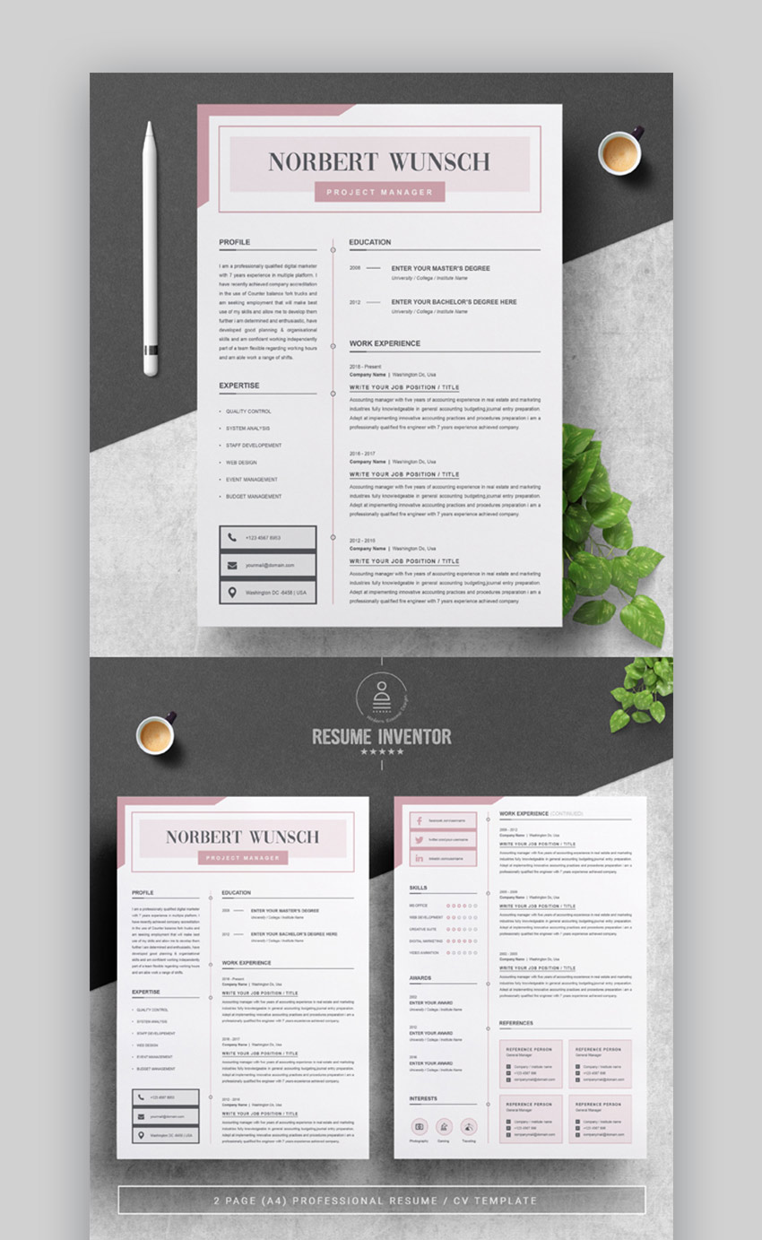 29  best contemporary  new styles  resume cv templates