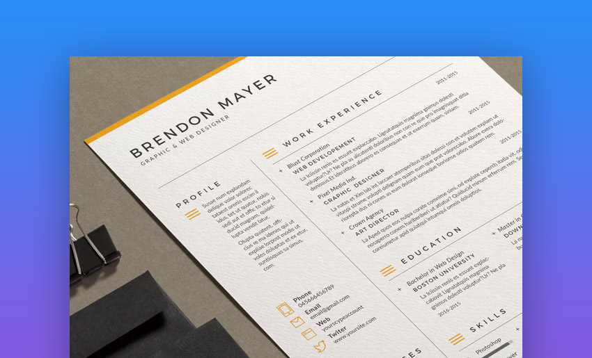 resume brendon bold and simple easy resume template