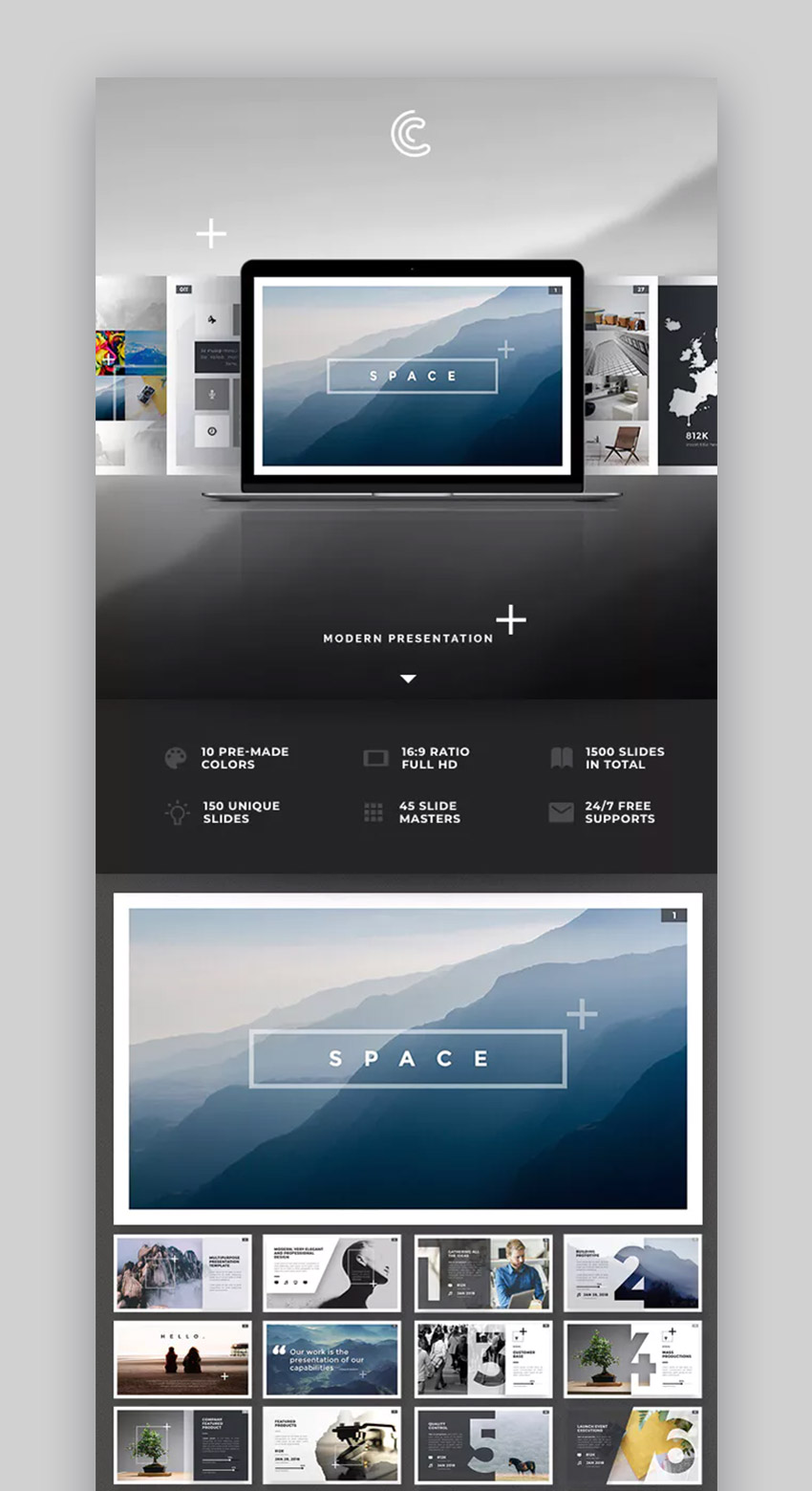 Space Top Business PowerPoint Template