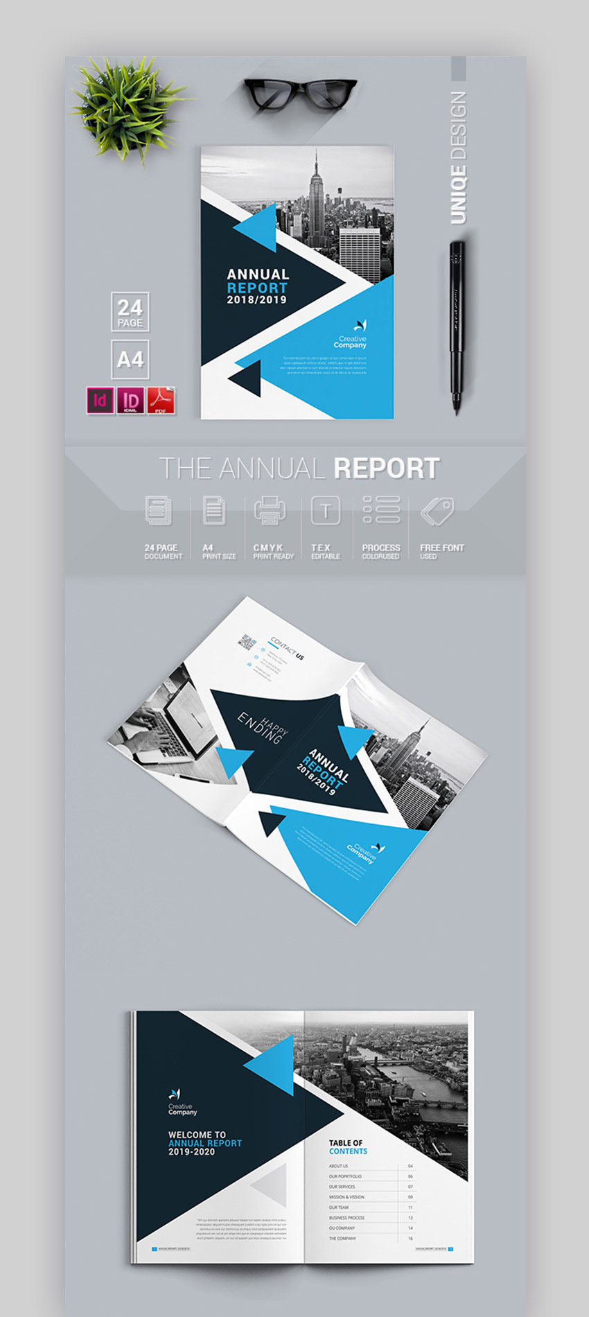 Bright Blue Annual Report Template