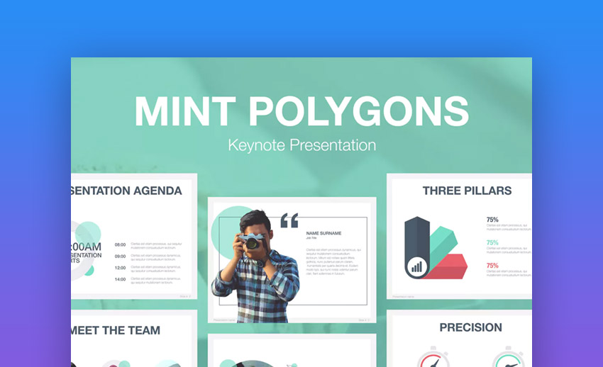 Mint Polygons Keynote Template
