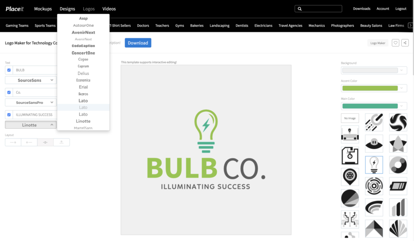 Customize Text Placeit logo
