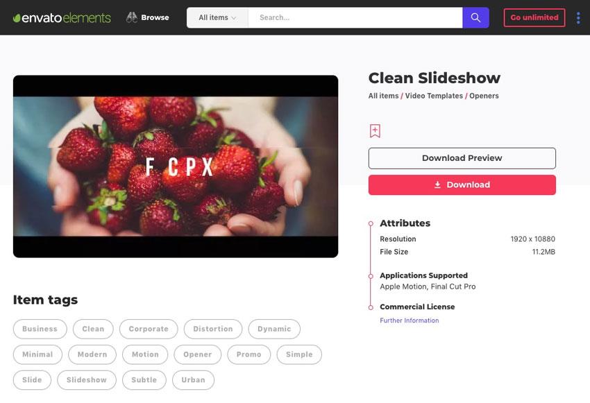 Envato Elements clean slideshow