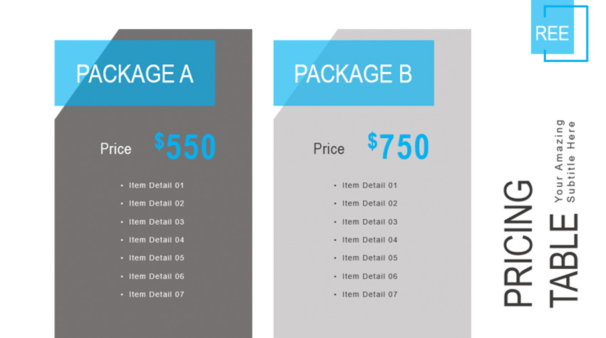 tabla de precios