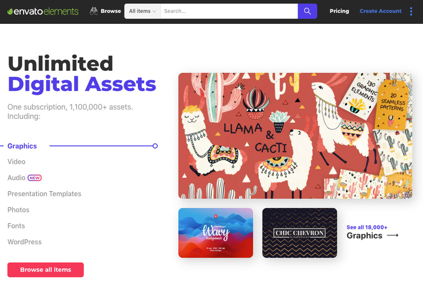 Envato Elements Homepage Updated
