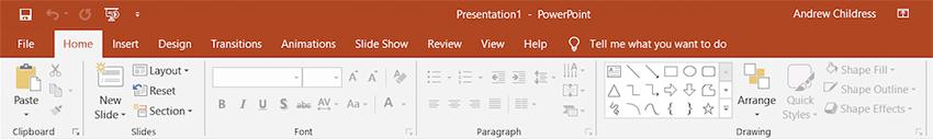 PowerPoint ribbon