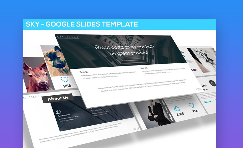Sky Multipurpose Google Slides templates
