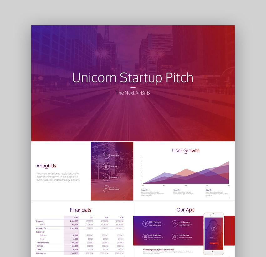 Unicorn - Plantilla PPT Premium para Startups