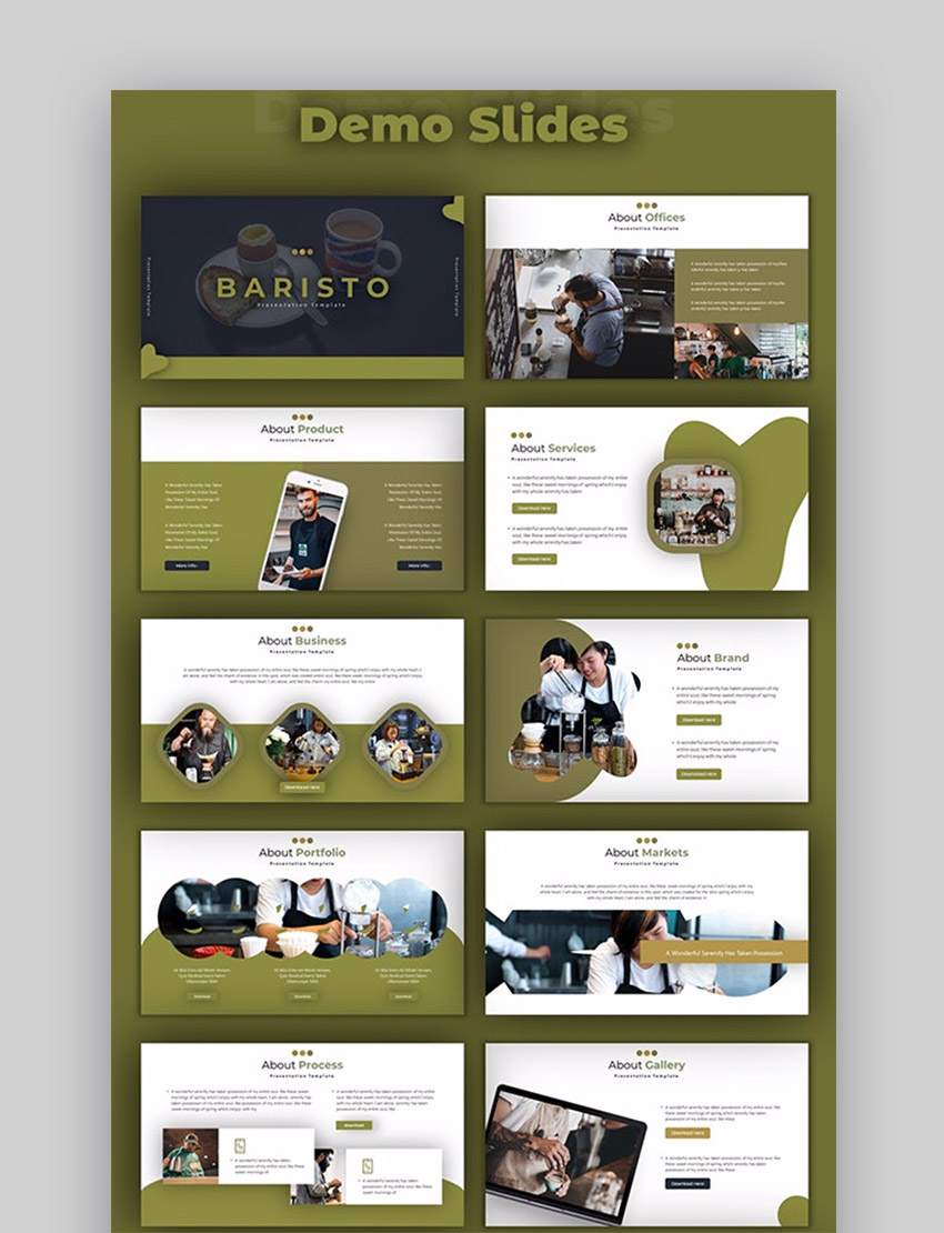 Baristo - template with best colors for PowerPoint presentation