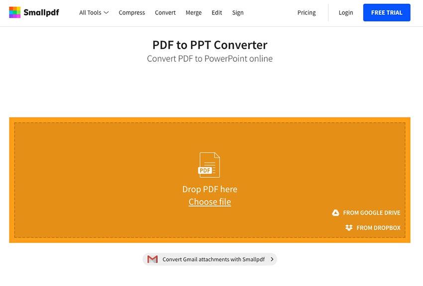 SmallPDF Insert PDF into PowerPoint