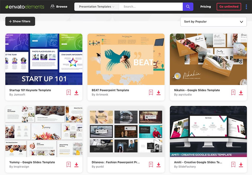 Envato Elements Presentation template