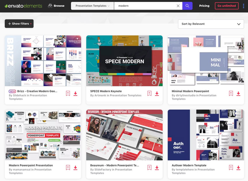 Envato Elements service for designing a PowerPoint template
