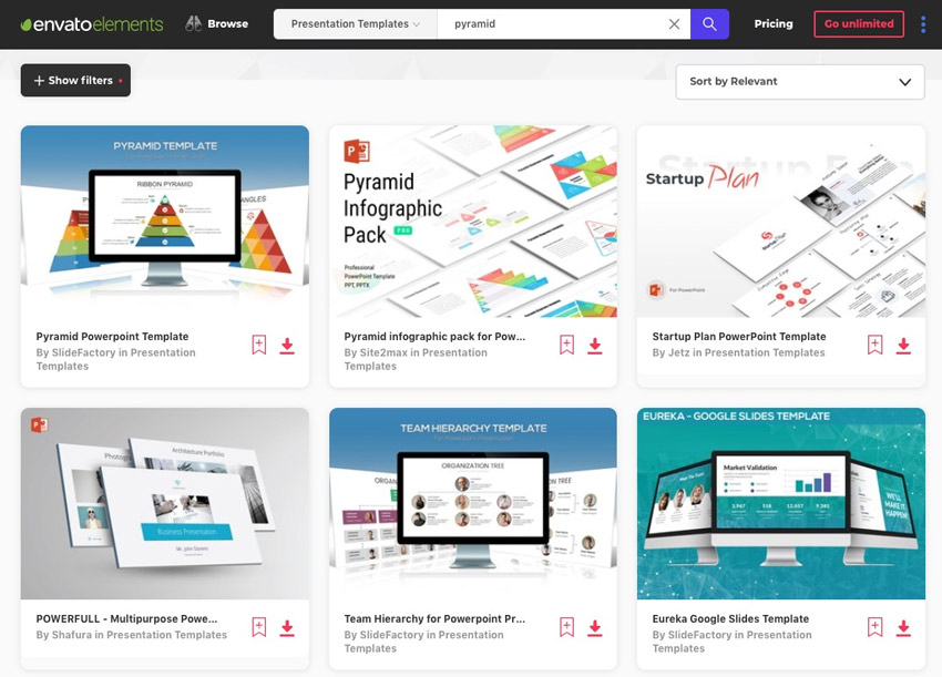 Elements PowerPoint Pyramid Templates