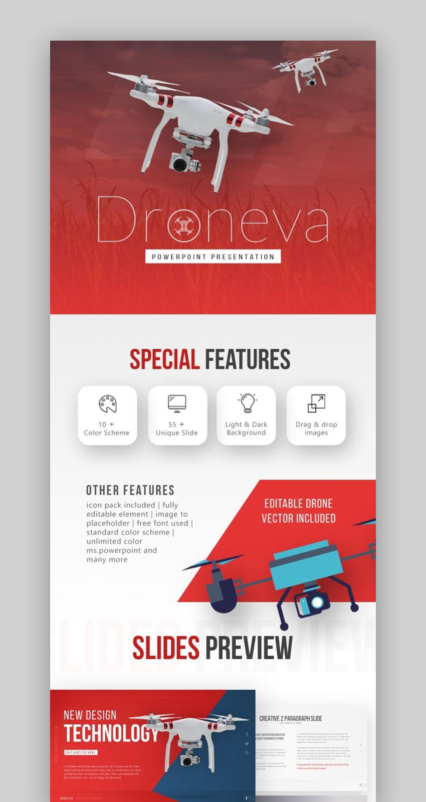 Droneva Tech PowerPoint templates