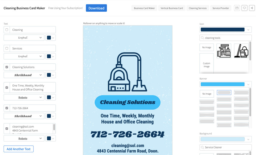 Placeit Cleaning Business Cards