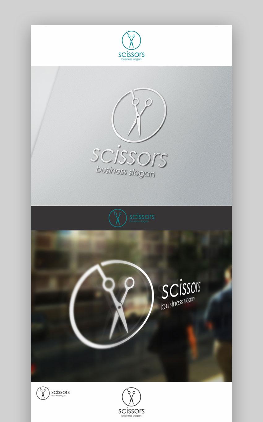 Scissors barber shop logo template