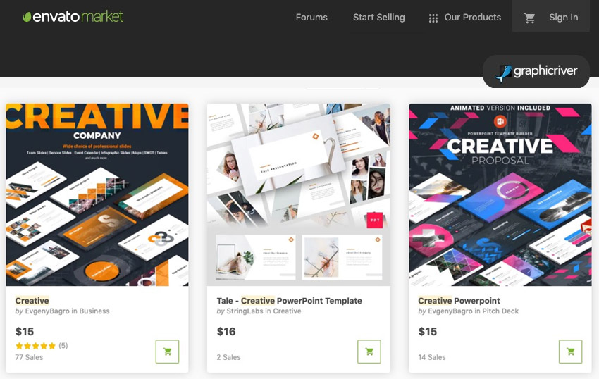 GraphicRiver creative PowerPoint templates