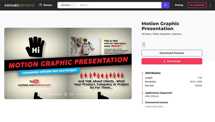 Envato Elements motion graphics template