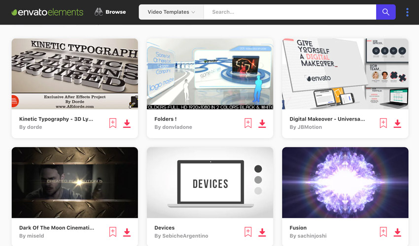 Envato Elements Template library