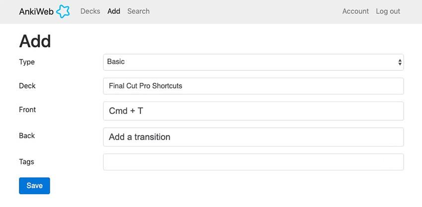 Add a shortcut on Anki