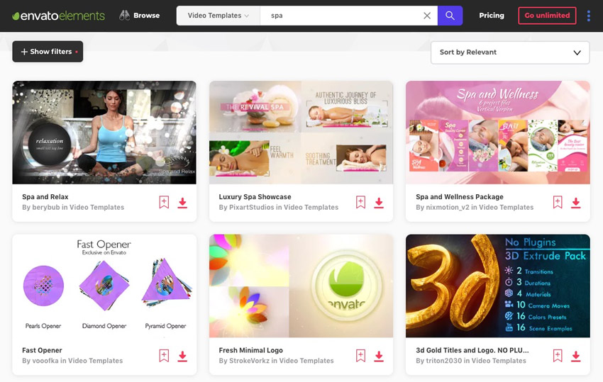After Effects Templates for Spas