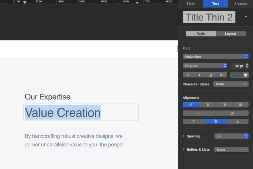 Custom fonts in business pitch presentation