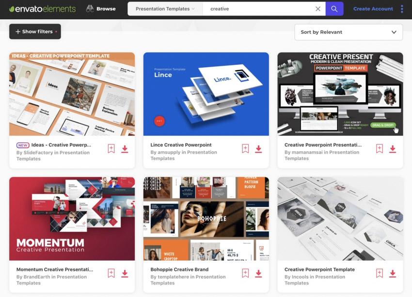 Envato Elements site for PowerPoint Design Ideas