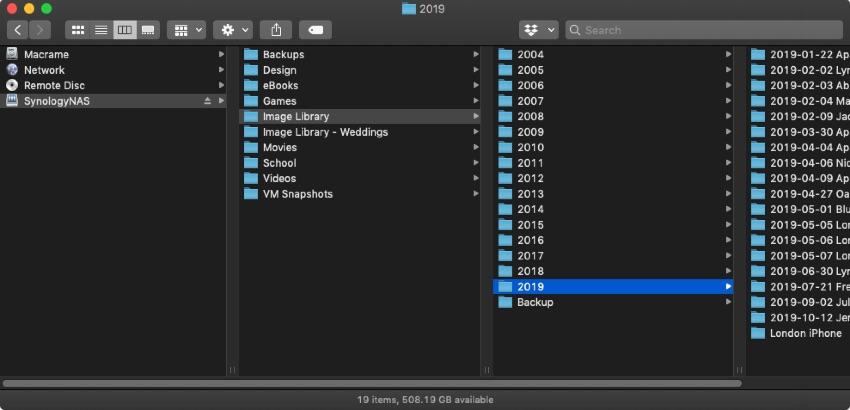 Network attached storage screenshot