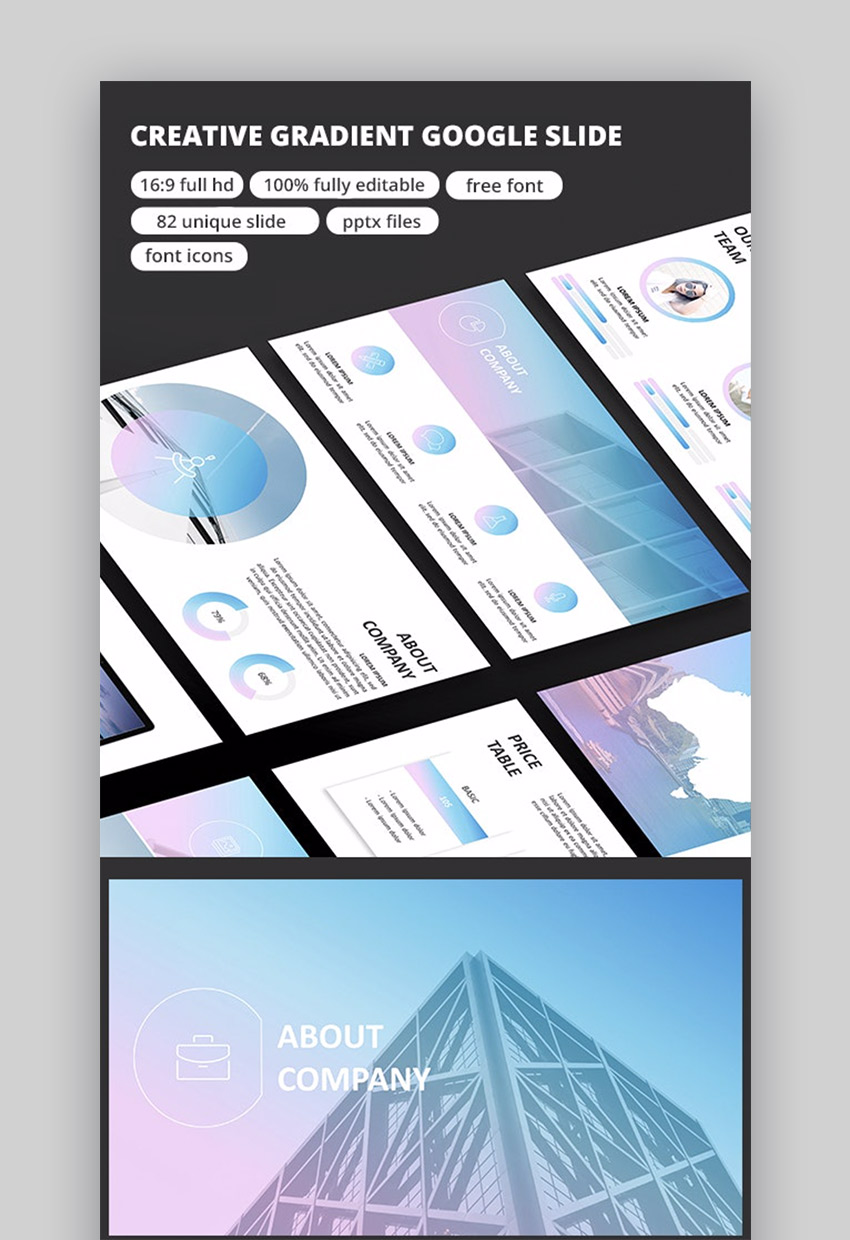Gradient for Scientific Google Slides theme