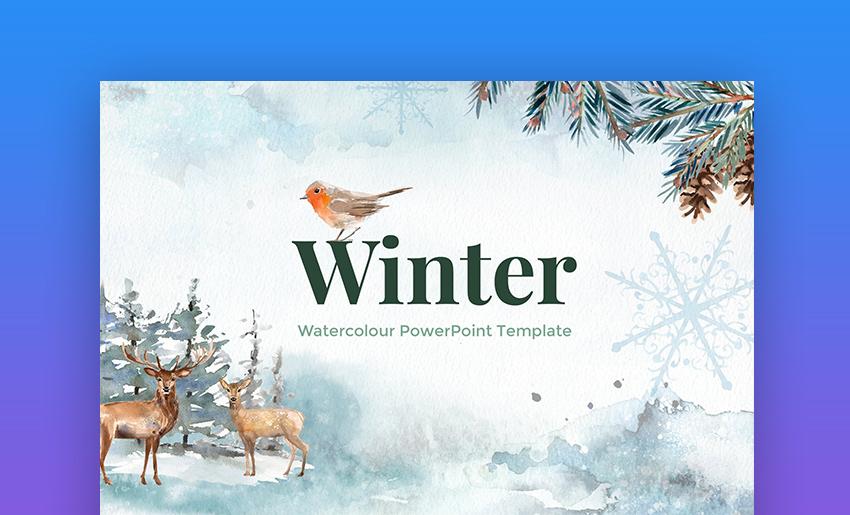Winter Watercolour PowerPoint Template