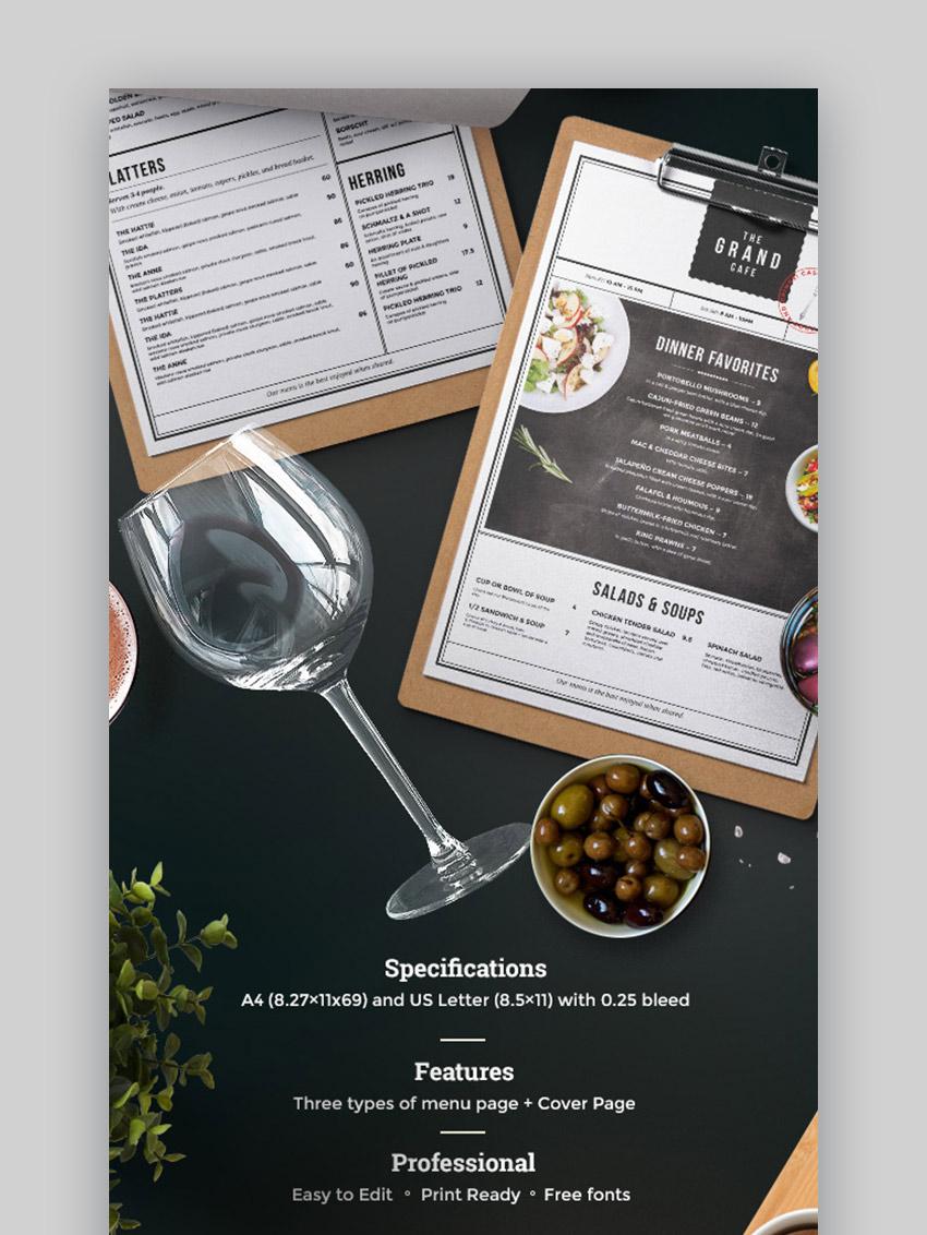 Creative menu for restaurant