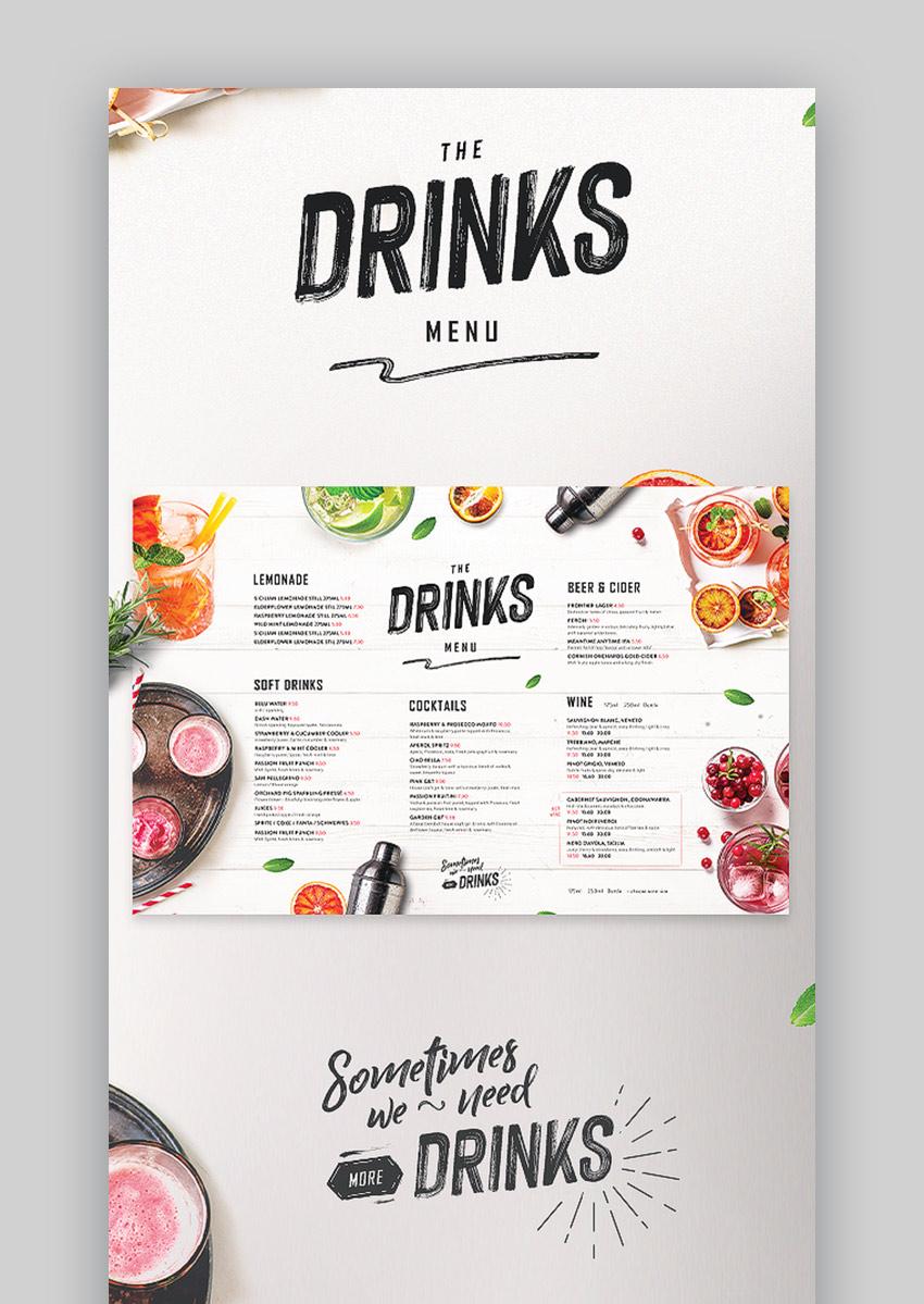 Cool menu designs for bar