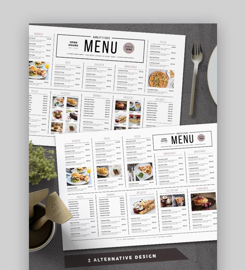 Simple restaurant menu design ideas