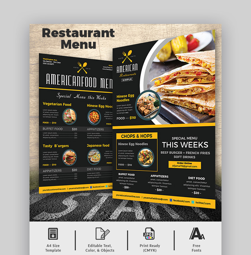 Best restaurant menu design