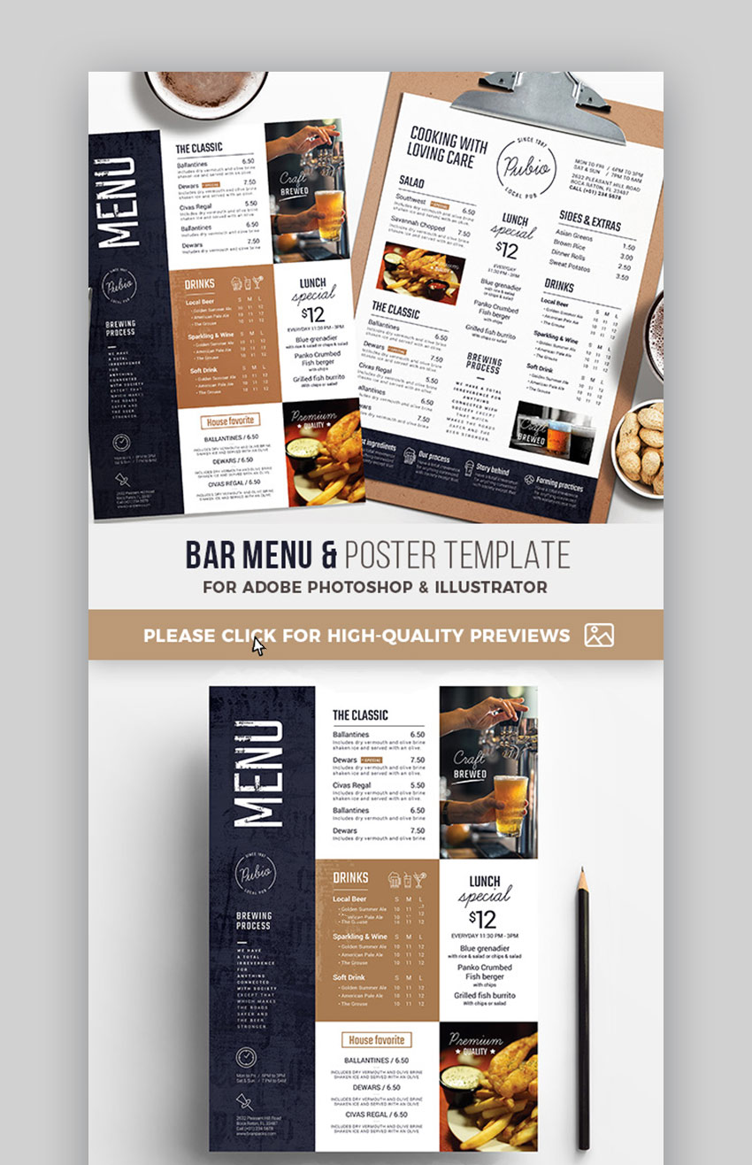 Cuisine D Angle Avec Bar 20 cool restaurant (food) menu templates (best modern